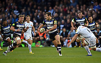 Max Clark of Bath Rugby in possession. West Country Challenge Cup match, between Bath Rugby and Exeter Chiefs on October 10, 2015 at the Recreation Ground in Bath, England. Photo by: Patrick Khachfe / Onside Images