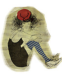Illustration of young woman hugging knees while sitting over white background