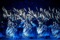 Aug. 8, 2008; Beijing, CHINA; Dancers perform during the opening ceremonies for the 2008 Beijing Olympic Games at the National Stadium. Mandatory Credit: Mark J. Rebilas-