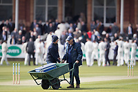 The ground staff remove the last of their equipment before play commences during Middlesex CCC vs Lancashire CCC, Specsavers County Championship Division 2 Cricket at Lord's Cricket Ground on 11th April 2019