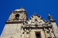Baroque facade of The 18th-century Church of San Sebastian in the Spanish colonial mining townof Concordia near Mazatlan, Sinaloa, Mexico..