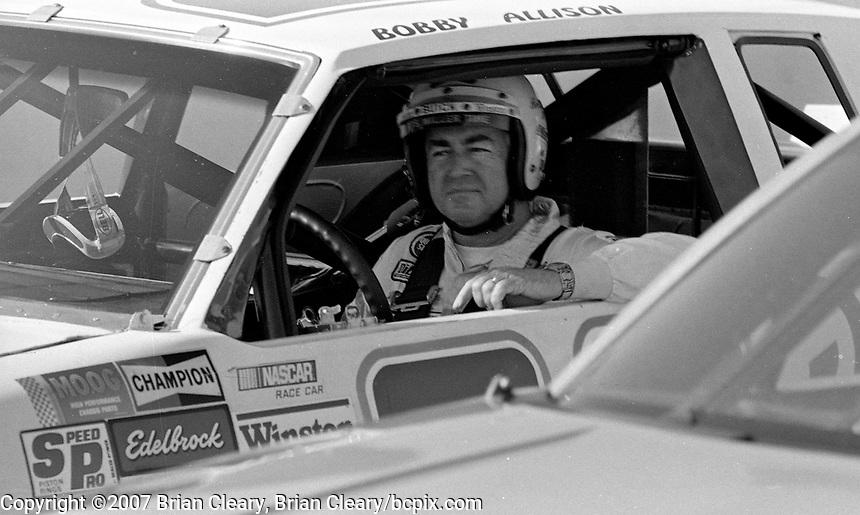 Bobby Allison in his car, Atlanta Journal 500 at Atlanta International Raceway in Hampton, GA on November 6, 1983. (Photo by Brian Cleary/www.bcpix.com)  Atlanta Journal 500, Atlanta Motor Speedway, Hampton, Georgia, November 6, 1983.  (Photo by Brian Cleary/www.bcpix.com)