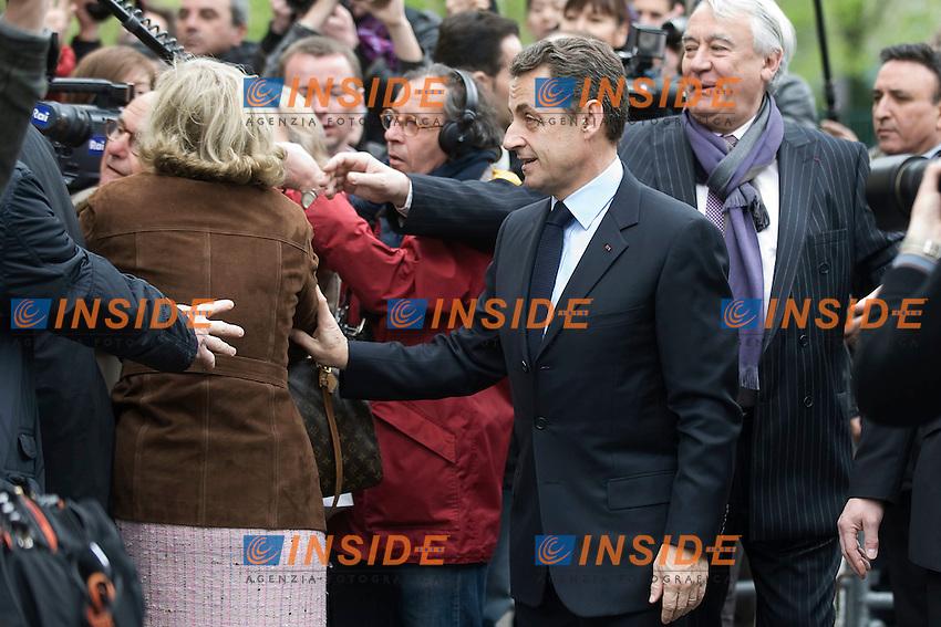 Nicolas  Sarkozy .22/04/2012 Parigi -  Voto del Presidente  in carica francese e del Partito UMP Unione per un Movimento Popolare, per le Elezioni Presidenziali..Foto Insidefoto /Florent Dupuy / Panoramic.ITALY ONLY