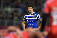 Freddie Burns of Bath Rugby watches a scrum. Gallagher Premiership match, between Bath Rugby and Sale Sharks on December 2, 2018 at the Recreation Ground in Bath, England. Photo by: Patrick Khachfe / Onside Images