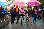 The Prime Minister Giuseppe Conte paid a visit to the Corsa Rosa today pictured with race leader Maglia Rosa Primoz Roglic (SLO) Team Jumbo-Visma and Maglia Ciclamino Pascal Ackermann (GER) Bora Hansgrohe before the start of Stage 5 of the 2019 Giro d'Italia, running 140km from Frascati to Terracina, Italy. 15th May 2019<br /> Picture: Gian Mattia D'Alberto/LaPresse | Cyclefile<br /> <br /> All photos usage must carry mandatory copyright credit (© Cyclefile | Gian Mattia D'Alberto/LaPresse)