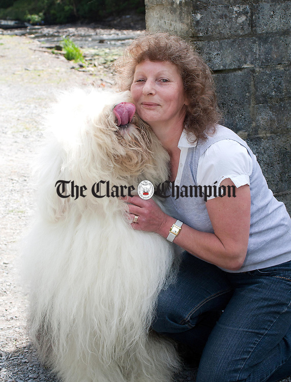 050611.Caroline Halford,Carron pictured with her Old English Sheepdog Rosie,2011 best of breed winner at Crufts , pictured at the North West Clare Agricultural Show in the Falls Hotel Grounds Ennistymon Co Clare.