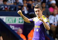 Pictured: Pablo Hernandez of Swansea celebrating his goal, making the score 0-2 to his team.. Sunday 01 September 2013<br />