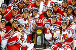 19 MAR 2016: Plattsburgh celebrates after winning the National Championship during the Division lll Women's Ice Hockey Championship, held at the Ronald B. Stafford Ice Arena in Plattsburgh, NY. Plattsburgh defeated Wis.-River Falls 5-1 for the national title. Plattsburgh celebrates their third title in three years. Nancie Battaglia/NCAA Photos