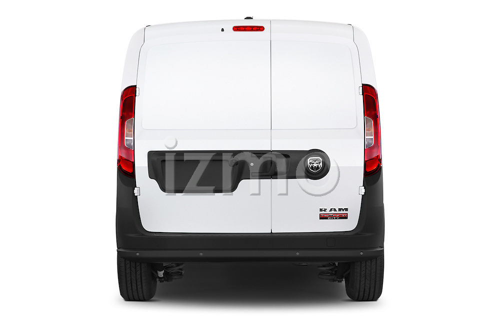 Straight rear view of a 2017 Ram Promaster City Trademans 4 Door Cargo Van stock images