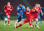 St Johnstone v Aberdeen....02.03.11 .Collin Samuel tackled by Andrew Considine.Picture by Graeme Hart..Copyright Perthshire Picture Agency.Tel: 01738 623350  Mobile: 07990 594431