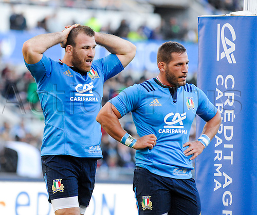12.11.2016. Stadio Olimpico, Rome, Italy. Autumn International Rugby. Italy versus New Zealand. Leonardo Ghiraldini frustrated ot fall behind