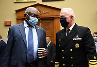 Admiral Brett Giroir, United States Assistant Secretary for Health, talks with Committee Chairman US House Assistant Democratic Leader James Clyburn (Democrat of South Carolina), before testifying at a House Subcommittee on the Coronavirus Crisis hearing on a national plan to contain the COVID-19 pandemic, on Capitol Hill in Washington, DC on Friday, July 31, 2020.  <br /> Credit: Kevin Dietsch / Pool via CNP /MediaPunch