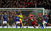 5th January 2020; Anfield, Liverpool, Merseyside, England; English FA Cup Football, Liverpool versus Everton; Neco Williams of Liverpool shoots at goal but sees his effort blocked by Richarlison of Everton   - Strictly Editorial Use Only. No use with unauthorized audio, video, data, fixture lists, club/league logos or 'live' services. Online in-match use limited to 120 images, no video emulation. No use in betting, games or single club/league/player publications