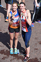 Helen Glover and Heather Stanning<br /> carried away by St John's Ambulance at the finish line on The Mall at the 2017 London Marathon, London. <br /> <br /> <br /> &copy;Ash Knotek  D3254  23/04/2017