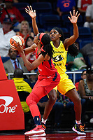 Washington, DC - June 14, 2019: Washington Mystics forward LaToya Sanders (30) makes a move around Seattle Storm forward Crystal Langhorne (1) underneath the basket during game between Seattle Storm and Washington Mystics at the St. Elizabeths East Entertainment and Sports Arena in Washington, DC. The Storm hold on to defeat the Mystics 74-71. (Photo by Phil Peters/Media Images International)