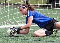 Allston, Massachusetts - June 21, 2015:  Seattle Reign (white/black) defeated the Boston Breakers (blue), 3-2 in a National Women's Soccer League Elite (NWSL) match at Soldiers Field Soccer Stadium.