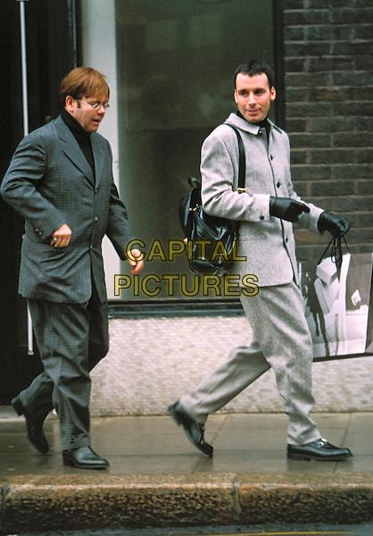 ELTON JOHN & DAVID FURNISH .shopping, gay couple.Ref: 875 .www.capitalpictures.com.sales@capitalpictures.com.©Capital Pictures
