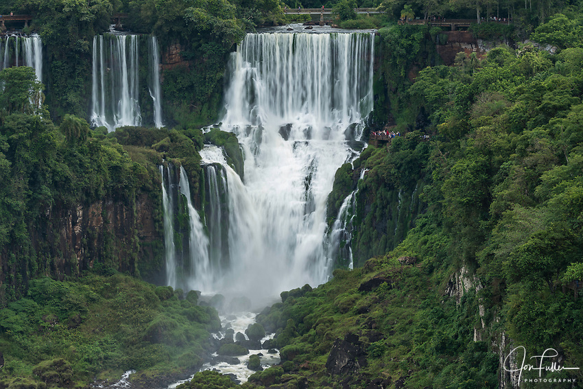 Iguazu Falls National Park in Argentina, as viewed from Brazil.  A UNESCO World Heritage Site.  Pictured from left to right are Adam and Eve, and Bossetti Falls.