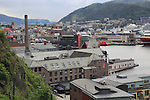 Old industrial buildings in docks, Nostet area, city of Bergen, Norway