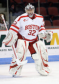 Adam Kraus (BU - 32) - The Boston University Terriers defeated the Merrimack College Warriors 6-4 (EN) on Saturday, January 16, 2010, at Agganis Arena in Boston, Massachusetts.