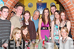 BIRTHDAY WISHES: Anita Donovan, Ballyline, Ballylongford (standing 4th from right) celebrated her 18th birthday in The Casa Mia Restaurant, Listowel on Saturday night with family and friends. Pictured seated l-r: Carmel and Eileen McCarthy and Edel Wallace. Standing l-r: Joe McCarthy, Michael Sheehy, Lisa McAuliffe, Mario D'Allessandro, Anita Donovan (birthday girl), Tadgh Cullane, Laura Lavery and Samantha Parkinson.   Copyright Kerry's Eye 2008