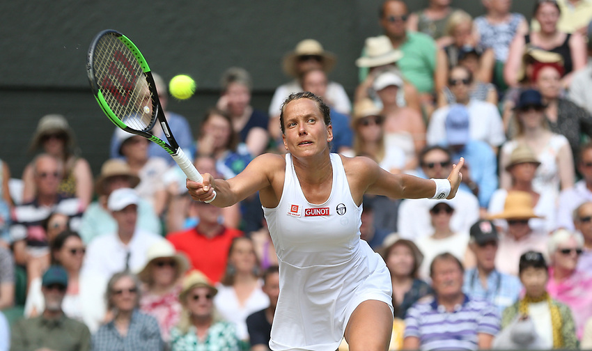 Barbora Strycova (CZE) during her match against Serena Williams (USA) in their Ladies' Singles Semi-Final match<br /> <br /> Photographer Rob Newell/CameraSport<br /> <br /> Wimbledon Lawn Tennis Championships - Day 10 - Thursday 11th July 2019 -  All England Lawn Tennis and Croquet Club - Wimbledon - London - England<br /> <br /> World Copyright © 2019 CameraSport. All rights reserved. 43 Linden Ave. Countesthorpe. Leicester. England. LE8 5PG - Tel: +44 (0) 116 277 4147 - admin@camerasport.com - www.camerasport.com