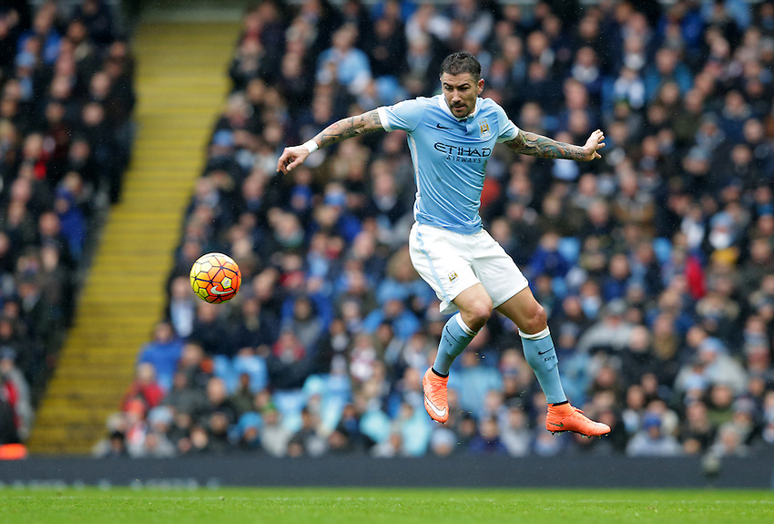 Manchester City's Aleksandar Kolarov<br /> <br /> Photographer Stephen White/CameraSport<br /> <br /> Football - Barclays Premiership - Manchester City v Leicester City - Saturday 6th February 2016 -  Etihad Stadium - Manchester<br /> <br /> &copy; CameraSport - 43 Linden Ave. Countesthorpe. Leicester. England. LE8 5PG - Tel: +44 (0) 116 277 4147 - admin@camerasport.com - www.camerasport.com
