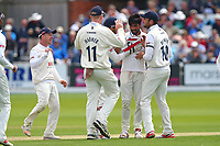 Mohammad Amir of Essex is congratulated by his team mates after taking the wicket of Tom Kohler-Cadmore during Yorkshire CCC vs Essex CCC, Specsavers County Championship Division 1 Cricket at Scarborough CC, North Marine Road on 7th August 2017