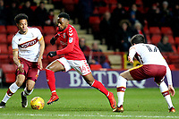Tariqe Fosu of Charlton Athletic takes on the Bradford City defence during Charlton Athletic vs Bradford City, Sky Bet EFL League 1 Football at The Valley on 13th February 2018