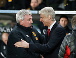 Steve Bruce manager of Hull City greets Arsene Wenger manager of Arsenal - English FA Cup - Hull City vs Arsenal - The KC Stadium - Hull - England - 8th March 2016 - Picture Simon Bellis/Sportimage
