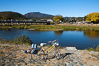 The Togetsukyo Bridge is a famous landmark in Arashiyama. The Hozu River, over which the bridge is built, is a favorite spot in Kyoto for river boat rides and viewing the autumn foliage.  The Katsura River is a continuation of the Hozu River on the southern side of the bridge.