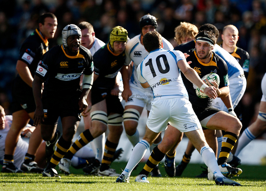 Photo: Richard Lane/Richard Lane Photography. London Wasps v Glasgow Warriors. Heineken Cup. 17/10/2010. Wasps' Rob Webber attacks.