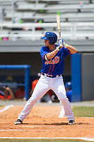Patrick Mazeika (19) of the Kingsport Mets at bat against the Greeneville Astros at Hunter Wright Stadium on July 7, 2015 in Kingsport, Tennessee.  The Mets defeated the Astros 6-4. (Brian Westerholt/Four Seam Images)