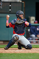 New Hampshire Fisher Cats catcher Ryan Hissey (20) during the first game of a doubleheader against the Harrisburg Senators on May 13, 2018 at FNB Field in Harrisburg, Pennsylvania.  New Hampshire defeated Harrisburg 6-1.  (Mike Janes/Four Seam Images)