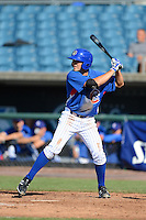 Shortstop Garrett Christman (22) of Noblesville High School in Noblesville, Indiana playing for the Chicago Cubs scout team during the East Coast Pro Showcase on August 2, 2013 at NBT Bank Stadium in Syracuse, New York.  (Mike Janes/Four Seam Images)