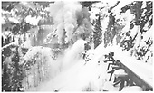 RGS rotary #2 clearing snow on High Line.<br /> RGS  Ophir Loop, CO  Taken by Rasmussen, Forest - ca. 1946-1947
