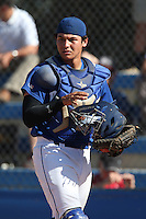 Alex Jackson (10) of Rancho Bernardo High School plays in the field at catcher during a game against Westview High School at Rancho Bernardo High School on May 21, 2014 in San Diego, California.  (Larry Goren/Four Seam Images)
