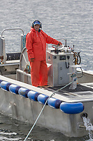 Commercial fisherman drives the skiff for the F/V Ace, during the Sitka sac roe herring fishery, Sitka Sound, southeast, Alaska