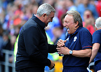Aston Villa manager Steve Bruce and Cardiff City manager Neil Warnock share a joke before the game<br /> <br /> Photographer Ashley Crowden/CameraSport<br /> <br /> The EFL Sky Bet Championship - Cardiff City v Aston Villa - Saturday August 12th 2017 - Cardiff City Stadium - Cardiff<br /> <br /> World Copyright &copy; 2017 CameraSport. All rights reserved. 43 Linden Ave. Countesthorpe. Leicester. England. LE8 5PG - Tel: +44 (0) 116 277 4147 - admin@camerasport.com - www.camerasport.com