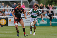 Guy Armitage of Ealing Trailfinders (right) chases the ball during the Friendly match between Ealing Trailfinders and Dragons  at Castle Bar , West Ealing , England  on 11 August 2018. Photo by David Horn / PRiME Media Images.