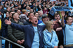 Manchester City fans celebrate winning the Premier League during the premier league match at the Etihad Stadium, Manchester. Picture date 22nd April 2018. Picture credit should read: Simon Bellis/Sportimage