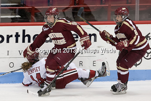 Jillian Dempsey (Harvard - 14), Ashley Motherwell (BC - 18), Dana Trivigno (BC - 8) - The Boston College Eagles defeated the Harvard University Crimson 2-1 in the opening game of the 2013 Beanpot on Tuesday, February 5, 2013, at Matthews Arena in Boston, Massachusetts.