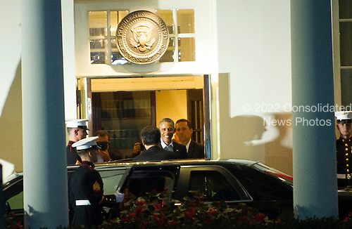 United States President Barack Obama (right) greets President of the People's Republic of China Xi Jinping (left) at The White House in Washington, D.C., Thursday, Sept. 24, 2015, before walking to a private dinner across the street at Blair House.<br /> Credit: Rod Lamkey Jr. / Pool via CNP