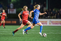 Boston, MA - Sunday September 10, 2017: Allie Long, Megan Oyster during a regular season National Women's Soccer League (NWSL) match between the Boston Breakers and Portland Thorns FC at Jordan Field.