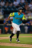 Bradenton Barbanegras Raul Hernandez (29) runs to first base during a Florida State League game against the St. Lucie Mets on July 27, 2019 at LECOM Park in Bradenton, Florida.  Bradenton defeated St. Lucie 3-2.  (Mike Janes/Four Seam Images)