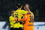10.02.2018, Signal Iduna Park, Dortmund, GER, 1.FBL, Borussia Dortmund vs Hamburger SV, <br /> <br /> im Bild | picture shows:<br /> Oemer Toprak (Borussia Dortmund #36) freut sich mit Roman Buerki (Borussia Dortmund #38) &uuml;ber den Sieg, <br /> <br /> <br /> Foto &copy; nordphoto / Rauch