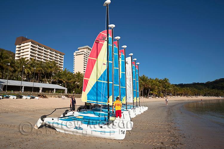Sailboats for hire at Catseye Beach.  Hamilton Island, Whitsundays, Queensland, Australia