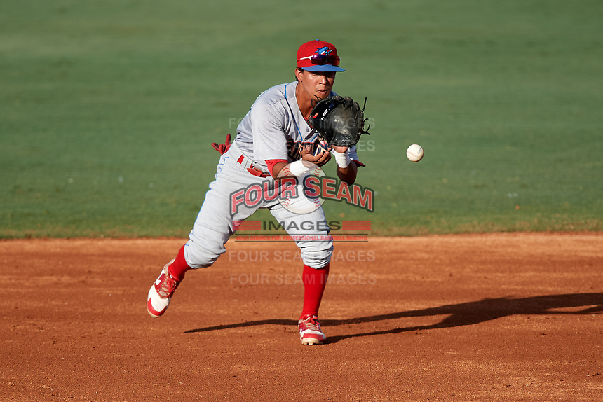 Clearwater Threshers second baseman Jose Antequera (18) fields a ground ball during a game against the Bradenton Marauders on July 24, 2017 at LECOM Park in Bradenton, Florida.  Bradenton defeated Clearwater 6-3  (Mike Janes/Four Seam Images)