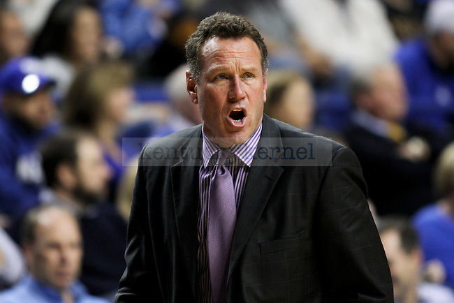 Grand Canyon University head coach Dan Majerle yells to his team during the second half of the University of Kentucky vs. Grand Canyon University men's basketball game at Rupp Arena in Lexington, Ky., on Friday, November 14, 2014 Photo by Jonathan Krueger | Staff