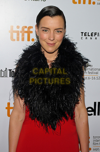 "Olivia Williams.""'Hyde Park On The Hudson"" Premiere - 2012 Toronto International Film Festival held at Ryerson Theatre, Toronto, Ontario, Canada..September 10th, 2012.TIFF half length black fur scarf wrap red dress  .CAP/ADM/BPC.©Brent Perniac/AdMedia/Capital Pictures."